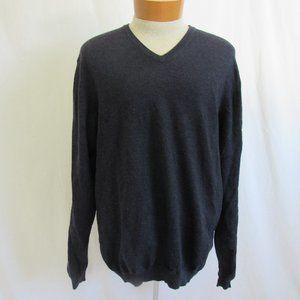 Brooks Brothers Blue V-Neck Merino Wool Sweater XL